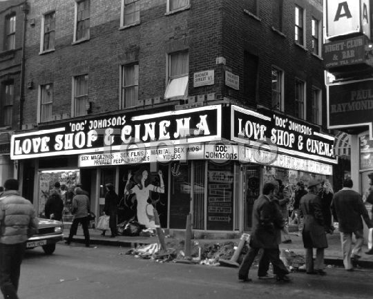Soho in the 1970s. Doc Johnsons Love shop and cinema - corner of Brewer Street and Walker's court. Now the premises for Soho Bookshop.