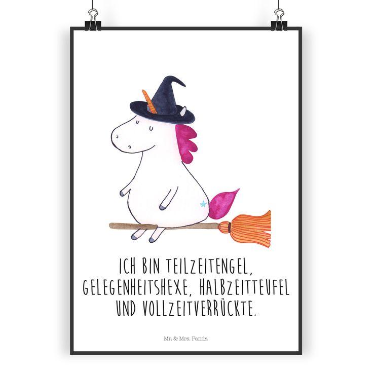 Poster DIN A4 Einhorn Hexe aus Papier 160 Gramm  weiß - Das Original von Mr. & Mrs. Panda.  Jedes wunderschöne Poster aus dem Hause Mr. & Mrs. Panda ist mit Liebe handgezeichnet und entworfen. Wir liefern es sicher und schnell im Format DIN A4 zu dir nach Hause.    Über unser Motiv Einhorn Hexe  Ein Einhorn Edition ist eine ganz besonders liebevolle und einzigartige Kollektion von Mr. & Mrs. Panda. Wie immer bei unseren Produkten sind alle Motive handgezeichnet und werden mit viel Liebe in…