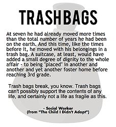 The truth about trash bags and foster kids. Help throw away foster kids' trash bags - learn how at www.foreverkids.org