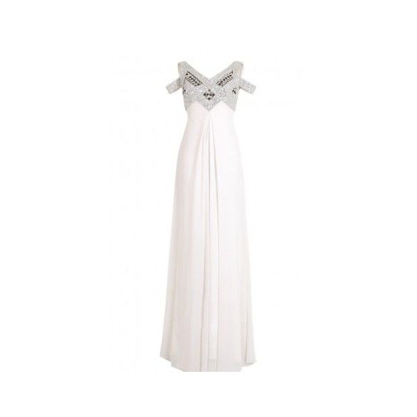Multistraps White Wedding Dress With Silver Elegance ($340) ❤ liked on Polyvore featuring dresses, gowns, long dresses, silver evening gowns, silver gown, silver ball gowns, white color dress and white evening dresses