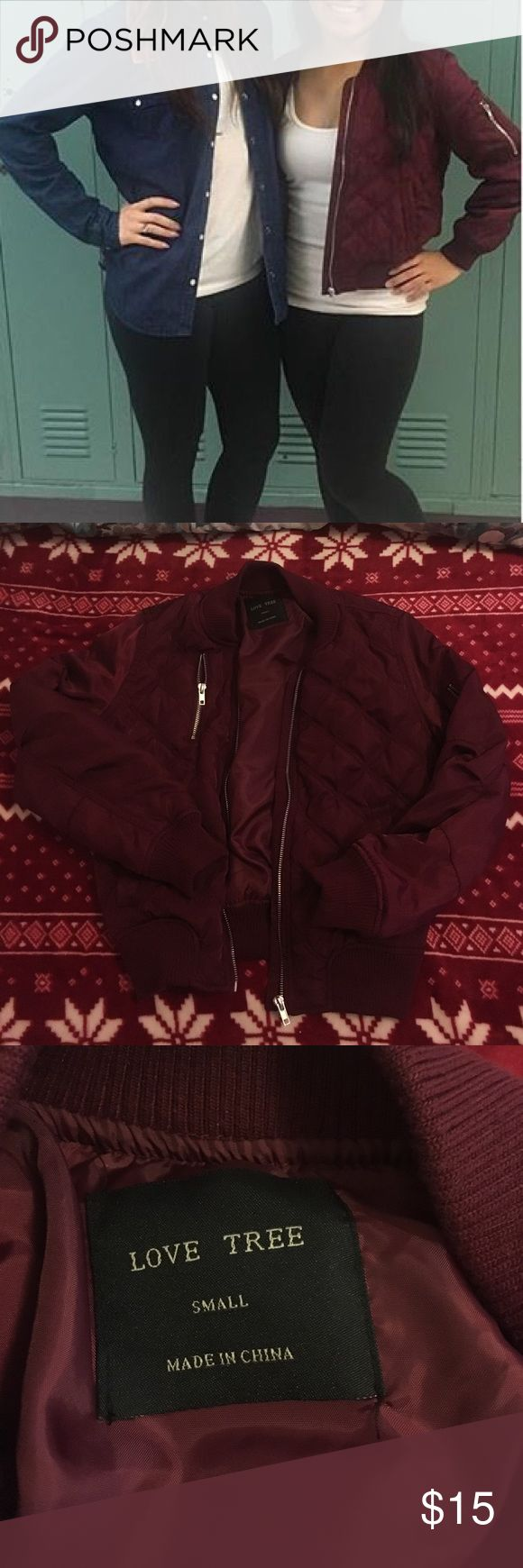 Maroon Bomber Jacket **NOT AMERICAN EAGLE** only worn once. No flaws. American Eagle Outfitters Tops