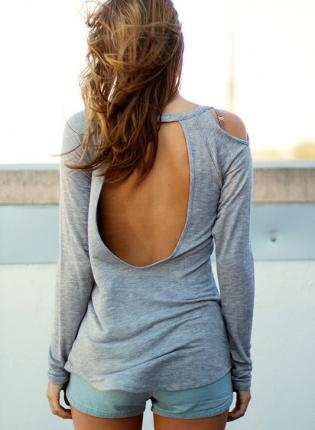 Grey Long Sleeve Top with Cut Out Detail & Open Back,  Top, open back top  long sleeve, Casual