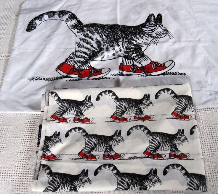 Kliban Cat Flat Twin Sheet Pillowcase Walking Red Sneakers Burlington Made USA