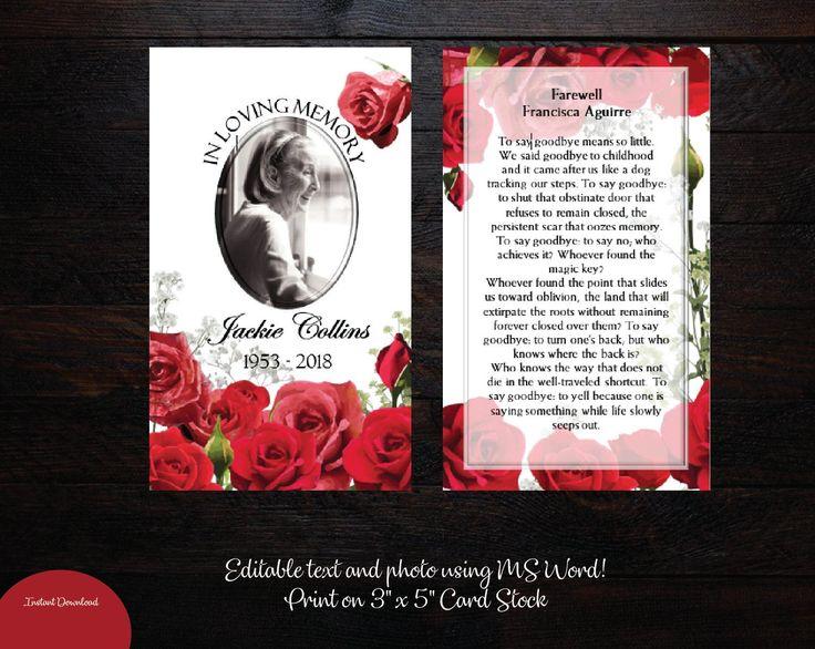 Funeral prayer card 3x5 memorial prayer card editable text