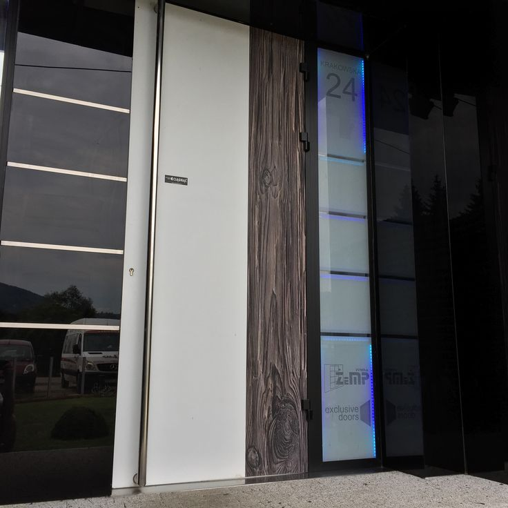Contemporary entrance door including sidelight with cool LED backlight