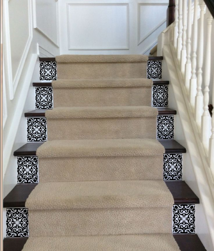 Vinyl Stair Tile Decals for Carpeted Stairs  Vinyl will be cut to fit the sides of the the risers not covered by carpet. Please measure that space and