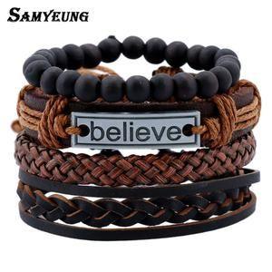 4 Pcs Vintage Multilayer Leather Bracelets for Men - Believe