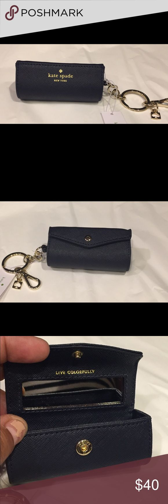 """Kate Spade lipstick case key fob NWT Kate Spade lipstick case key fob.  Snap closure opens to a lipstick sized case and mirror for that quick touch up. Approximately 3.5"""" long. NWT. NO TRADES kate spade Accessories Key & Card Holders"""