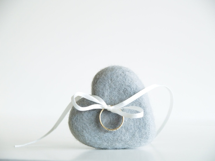 Grey Ring Pillow, Needle Felted Wool Heart for your Country Wedding, Woodland, Rustic , Barn. $20.00, via Etsy.