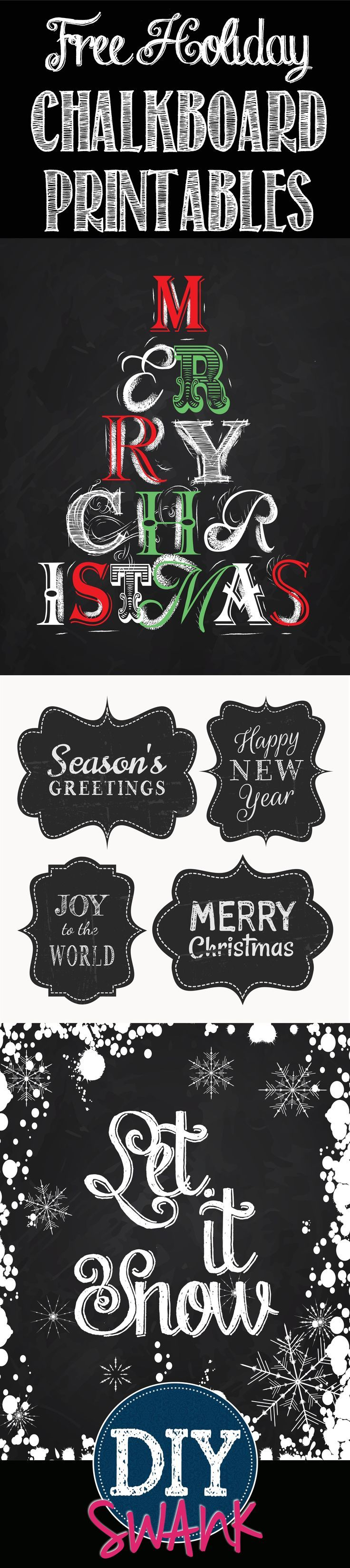 Free Holiday Chalkboard Printables