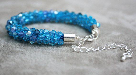 Blue Beaded Kumihimo Bracelet Beadweaving Beadwork by EmmaEmJD, £15.76
