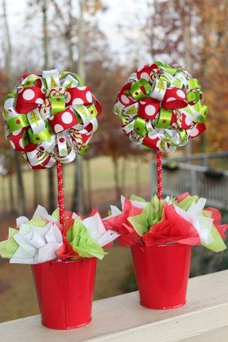 2 Christmas Grinch Themed Ribbon Topiary in Red and Lime Whimsy