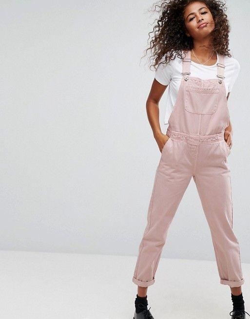 Top - White, Short Sleeves  Dungarees - Denim in Washed Pink (ASOS)