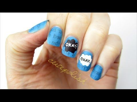 This beautifully geeky nail art design by the channel cutepolish on YouTube is a great nail art design to wear to the premier of the movie the fault in our stars!