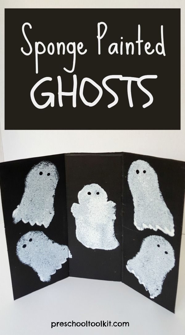 Halloween ghosts painting activity for preschoolers