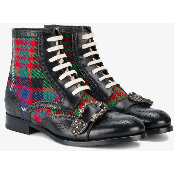Gucci Queercore brogue boot ($1,410) ❤ liked on Polyvore featuring men's fashion, men's shoes, men's boots, gucci mens shoes, mens side zip boots, mens side zipper boots, mens round toe shoes and mens buckle shoes
