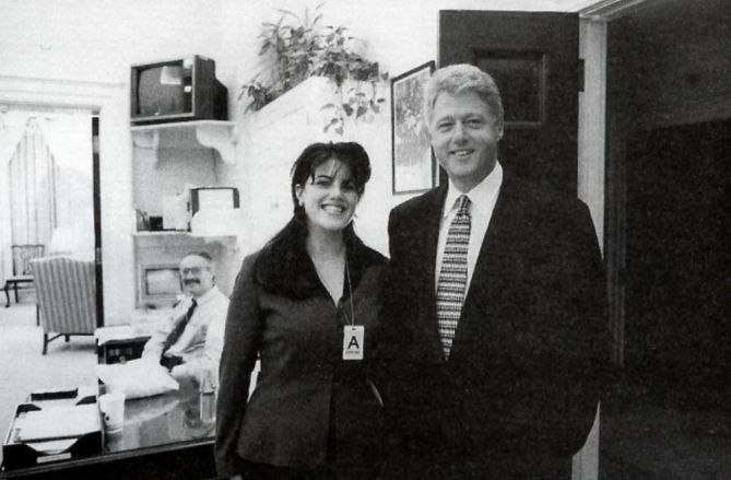 "President Clinton and Monica Lewinsky in the white house in 1996. This photo may not seem like much but it turned out to be part of one of the biggest scandals in US politics. Lewinsky was a white house aide who became ""friendly"" with the president. Soon the press got hold of a the story that she and the President had been having a torrid affair inside the white house. The stories were lewd and the movement to impeach the President Clinton overshadowed all he had accomplished during his term…"