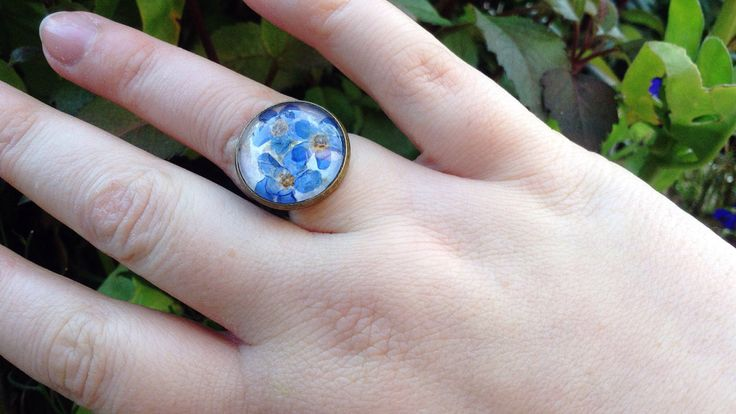 Forget me not real flower ring by flowercraftsboutique on Etsy