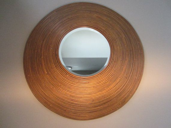 SOLD Bamboo Round Mirror Tropical Wall Decor by designeruniquefinds