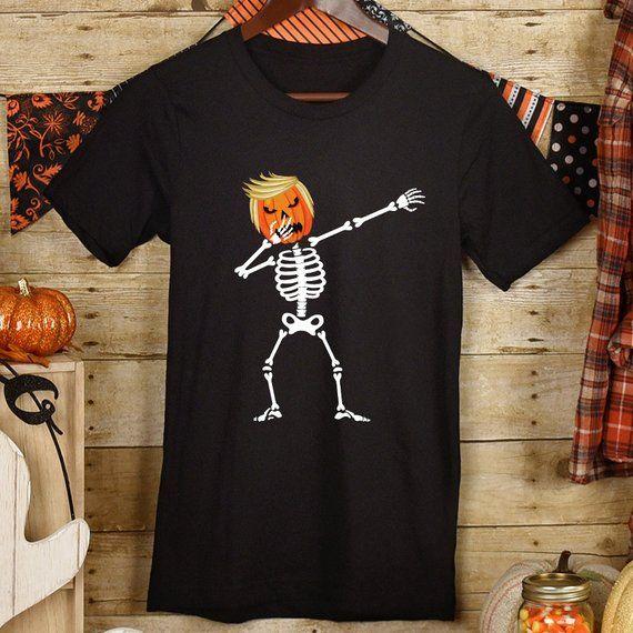 d75c1a38a Trumpkin Skeleton -Trump Pumpkin Head- Jack O' Lantern - Make America Great  Again - Trick or Treat - Party Quote - Funny Halloween T-Shirt