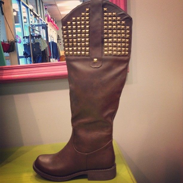 Chocolate Brown Studded Boots