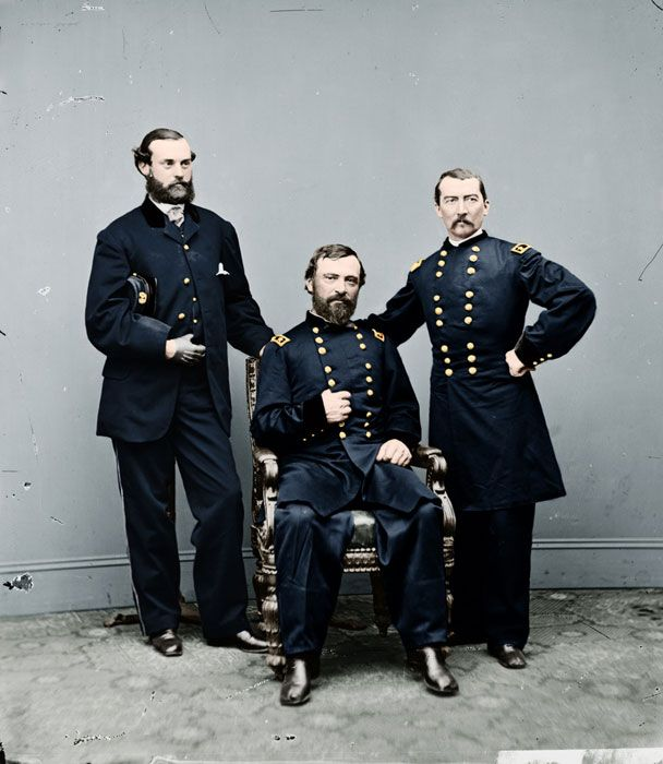 A colorized photograph of General Philip Sheridan (right) and two other men; The American Civil War