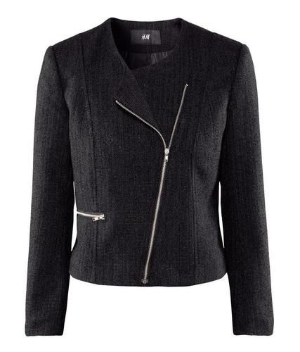 H Black Boucle Tweed Blazer Biker Jacket . 8 10 | eBay