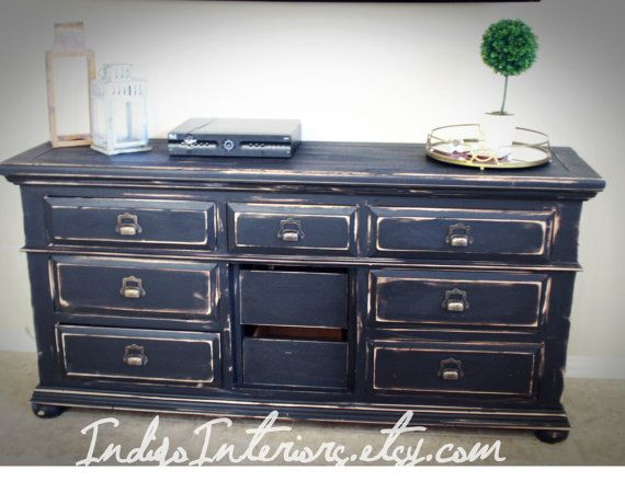 Distressed Black Restoration Hardware Pottery Barn Style Dresser Changing Table Buffet Tv