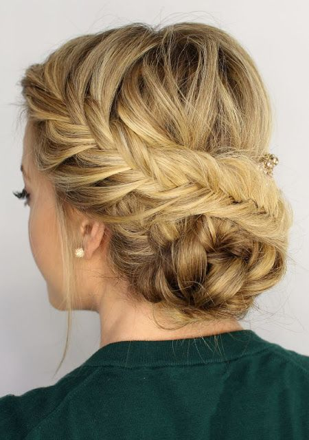 Braided fishtail updo hairstyle  http://www.hairstylo.com/2015/07/updo-hairstyles.html