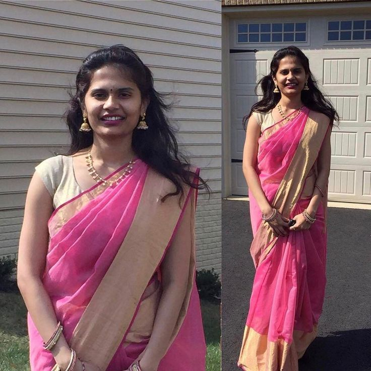"""Yamini Kurra from Ohio Pretty in pink in her House Of Blouse saree.  She Says: """"Hey guys! I am a very frequent shopper of HOB. Bought about 3 sarees and blouses so far and I had to give my feedback! Your work is awesome. Fabric stitching and designs are amazing! Wore my recent Buy for a housewarming party and it's simply pretty. Thanks!"""" We love it when you share. Keep those pictures and reviews flowing! #houseofblousedotcom #customerlove #readytoshop #saree #yourblouseyourway #blouse"""