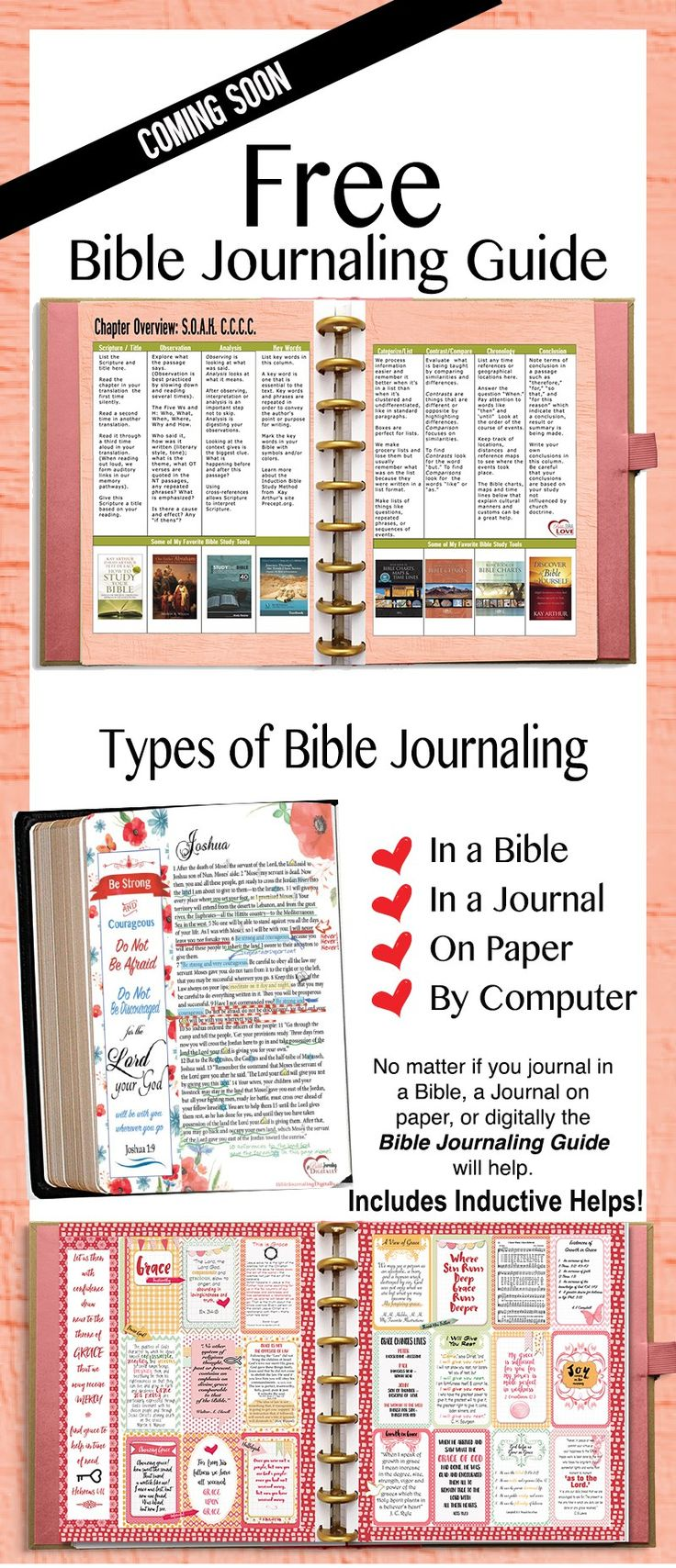 FREE-BIBLE-JOURNAL-GUIDE No matter if you journal in a Bible, a Journal on  paper, or digitally the Bible Journaling Guide will help.  Designed to fit inside a #HappyPlanner but can be put in notebook