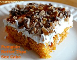 Pumpkin Better Than Sex Cake - We've all seen better than sex cake recipes, but did you know there's a pumpkin version? Fall desserts couldn't get much better than this delicious cake recipe.