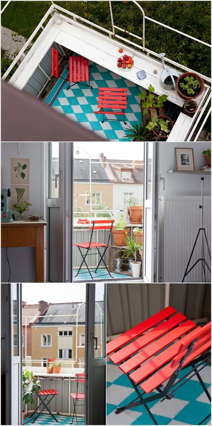 platzsparende moebel kleinen balkon gestalten ganzer balkon roter stuhl