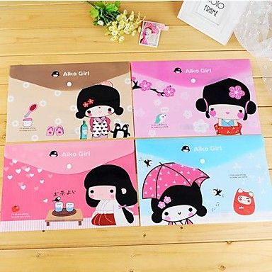 Japanese+Girl+Pattern+Plastic+A4+File+Bag(1+PCS+Random+Color)+–+USD+$+2.99