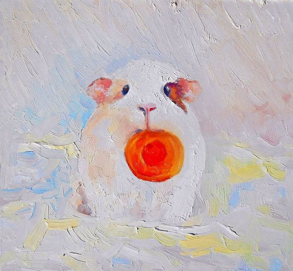 Oil painting Bubu and a slice of carrot. Little cavy Bubu holds a piece of carrot.  Original authors work. Solar painting from Soboleva Nadezhda. My