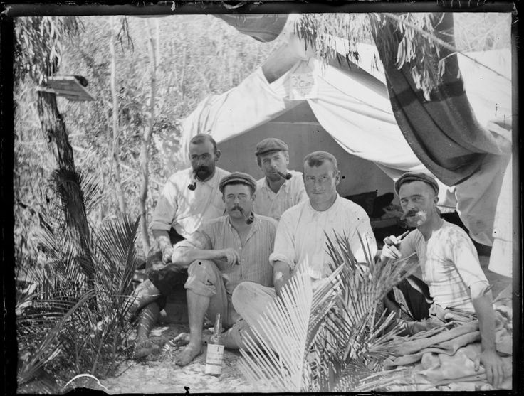 230479PD: Men camping in the bush, the sign on their tent reads: Ye Good Intent. 1900s? http://encore.slwa.wa.gov.au/iii/encore/record/C__Rb2467579__S230479PD__Orightresult__U__X3?lang=eng&suite=def