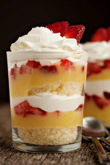 Simple Lemon-Strawberry Parfaits | MyBakingAddiction.com.  For this recipe, combine leftover cream cheese pound cake with lemon curd, whipped cream and fresh strawberries to create a simple yet visually stunning lemon curd parfait!