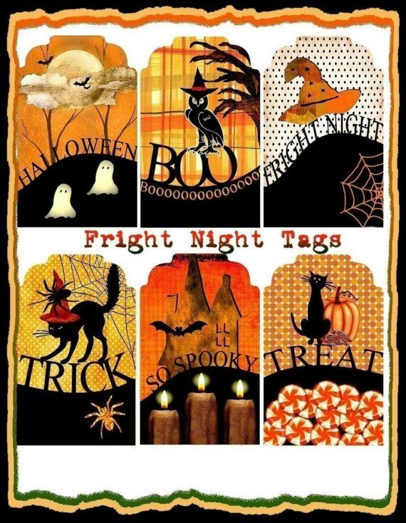 INSTANT DOWNLOAD Fright Night Halloween Tags by SenecaPondCrafts