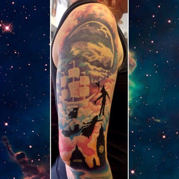 Peter Pan Flying over London Sleeve Tattoo