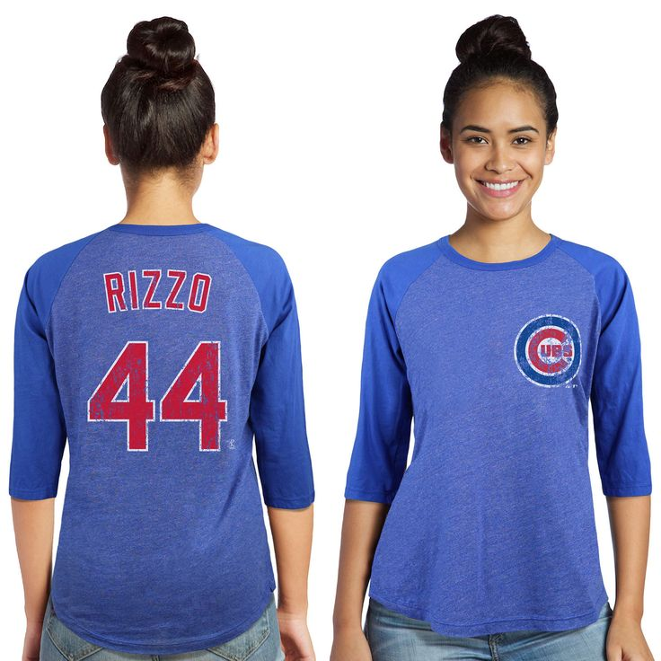 Women's Chicago Cubs Anthony Rizzo Majestic Threads Royal Name and Number Three-Quarter Sleeve T-Shirt