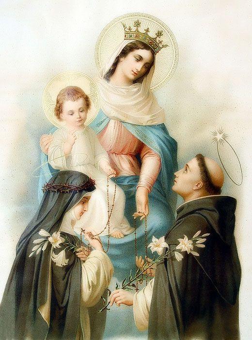 Notre-Dame de Pompéi entourée de Saint Dominique et Sainte Catherine de Sienne - présentant la si belle et si puissante prière  du Rosaire