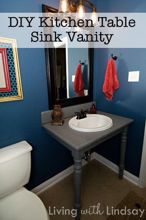 diy vanity from kitchen table