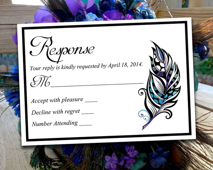 "DIY Wedding RSVP Template - Response Card ""Stained Glass Feather"" Regency Purple Malibu Turquoise - Printable Wedding Invitation RSVP Card by PaintTheDayDesigns on Etsy"
