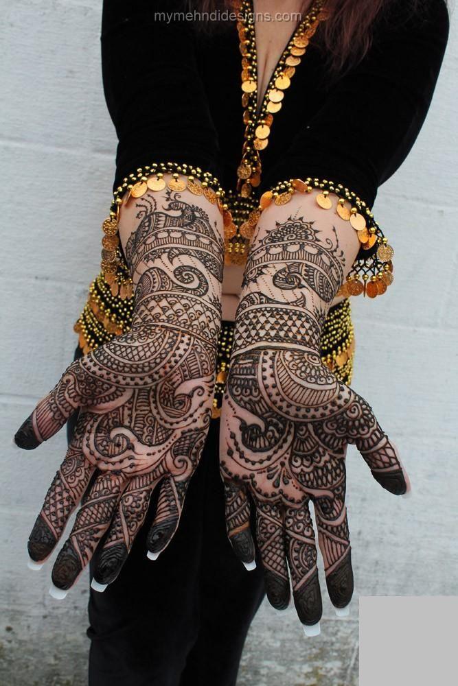 Underlying breidal peacock mehndi hands design