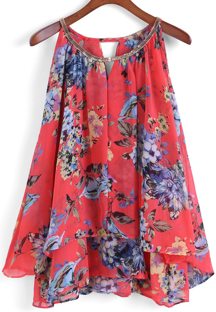 Red Chain Collar Florals Chiffon Vest 12.50