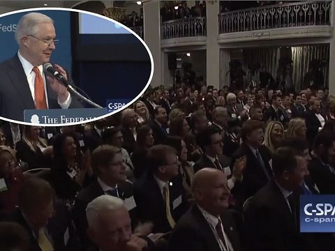 "U.S. Attorney General Jeff Sessions showed Friday that all the speculation sparked by investigations into the Trump campaign's possible ties to Russia hasn't affected his sense of humor.<br><br>""Is Ambassador Kislyak in the room?,"" Sessions joked, as he began a speech at the Federalist Society's 2017 National Lawyers Convention in Washington.<br><br>""Any Russians?"" he continued, drawing laughs from the audience. ""Umm ... anybody been to Russia? Got a cousin in Russia or something?"""