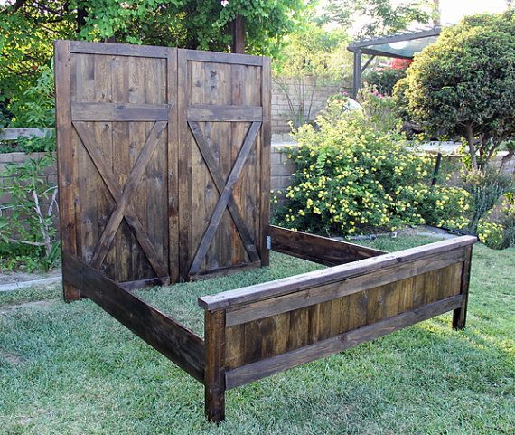 Headboard Vintage Barn Door Replica, with Siderails and Footboard By Foo Foo La La