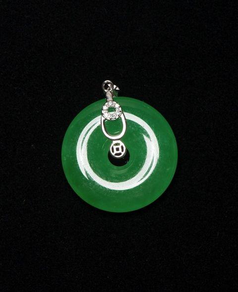 Lot 309Icy Emerald Green Jadeite Pendant w Clear Stones$1000-$2000