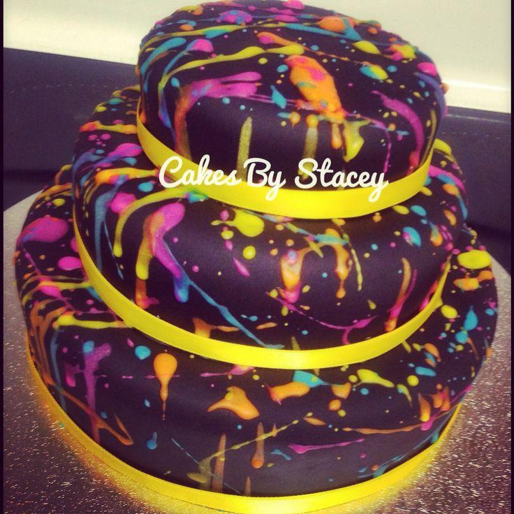 80 S Neon Paint Splatter Birthday Cake Cakes I Have