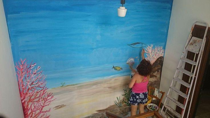 murales fondo marino inizio lavoro Natalia Albanese
